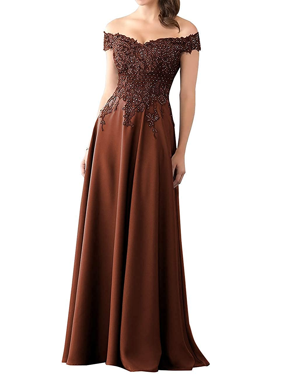 Chocolate Mother of The Bride Dress with Sleeve Off Shoulder Long Beaded Mother Dresses Evening Gowns
