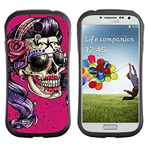 Be-Star Colorful Printed Design Anti-Shock Iface First Class Tpu Case Bumper Cover For SAMSUNG Galaxy S4 IV / i9500 / i9515 / i9505G / SGH-i337 ( pink sunglasses skull funny metal rock ) Kimberly Kurzendoerfer