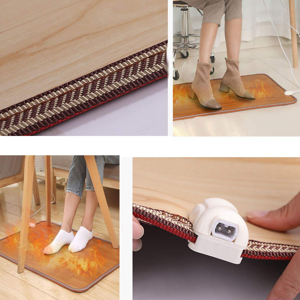 50W Electric Heating Carpet Foot Warmer Desk Heater Desktop Heated Pad Cozy Wood Grain Floor Leather Rug Warming Heater Floor Mat for Home Office Wood Grain B 20x12 inches