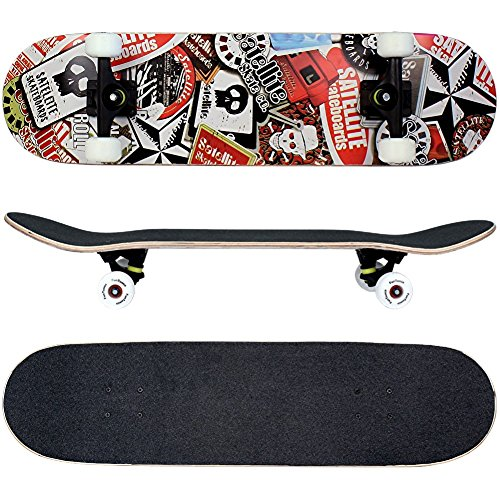 FunTomia® Skateboard mit ABEC-11 Kugellager und Rillen-Profil Rollen (Rollenhärte 100A) aus 100% 7-lagigem kanadischem Ahornholz (Es stehen verschiedene Farbdesigns zur auswahl) (Satellite Totenkopf)