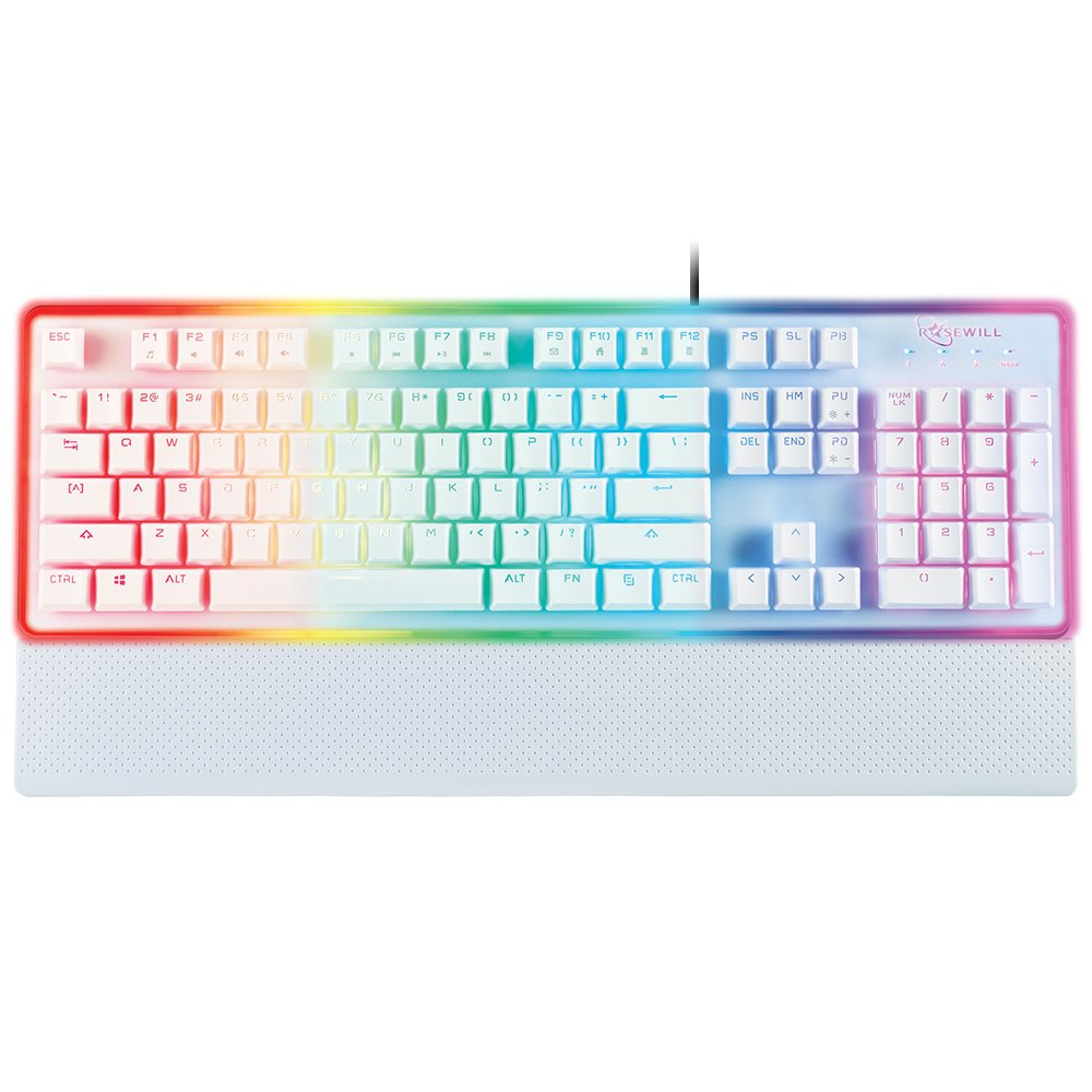 Amazon.com: ROSEWILL Gaming White Keyboard, RGB LED Backlit Wired ...