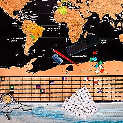 Mapa Mundi de Rascar Herramienta, Haice DIY Juego de Herramientas de 15 piezas, Marcador Premium Tarjetas Accesorios Novedad para World Map para Rascar(No incluye Mapa): Amazon.es: Hogar