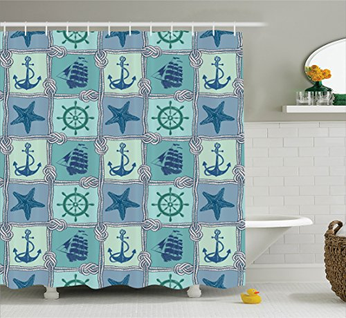 Ambesonne Ships Wheel Decor Shower Curtain Set By, Nautical Patchwork Pattern With Ropes Starfish Sailing Ship Anchor And Wheel, Bathroom Accessories, 69W X 70L Inches, Turquoise