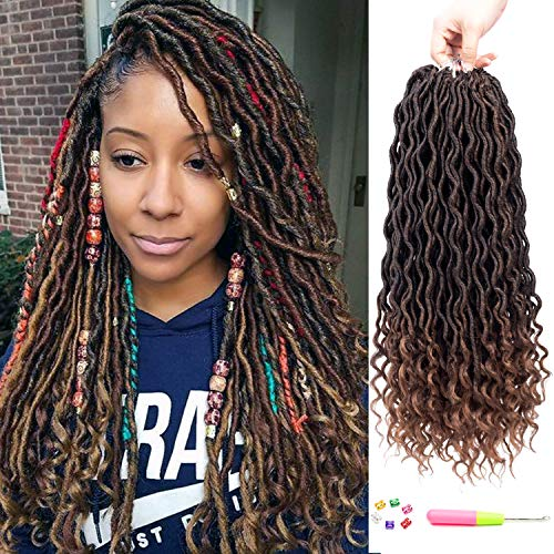 6 Packs Faux Locs Crochet Hair Curly Goddess Locs Braiding Hair Ombre Deep Wave Crochet Locs Synthetic Twist Hair Extensions (18-6packs, 1B-30#)