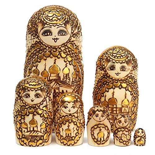 7Pcs K-Russian NOK-Nest-ting Dolls Traditional Wooden Handmade Matry Oshka Decor Gift