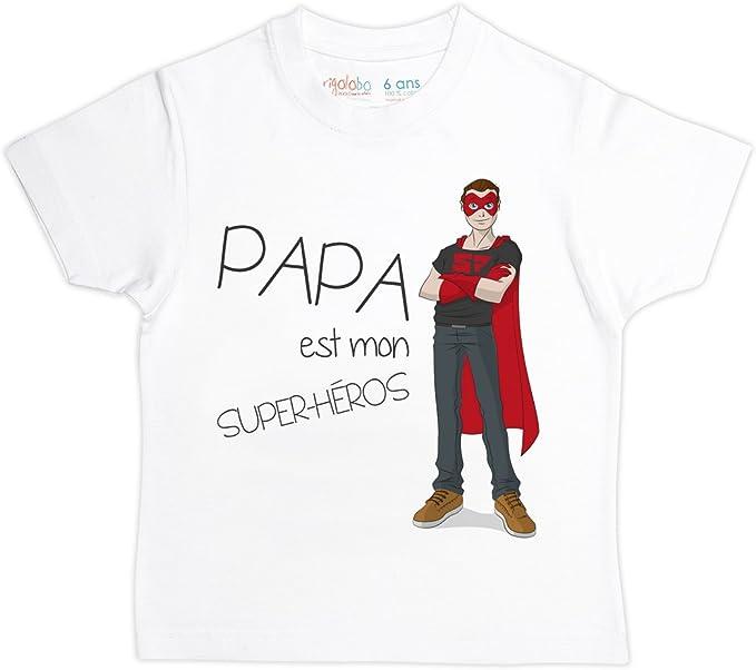 Anniversaire Super Héros Papa T Shirt tout nom ajouter avec commande