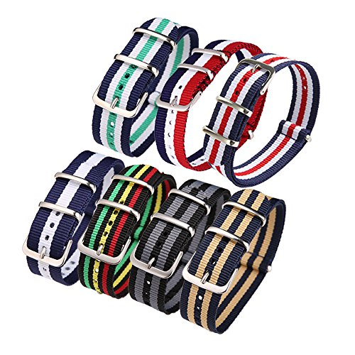 ALPS Watch Bands 22MM 7PCS Zulu Military Nato Nylon Watch Strap (Watch Strap-7pcs-22mm)