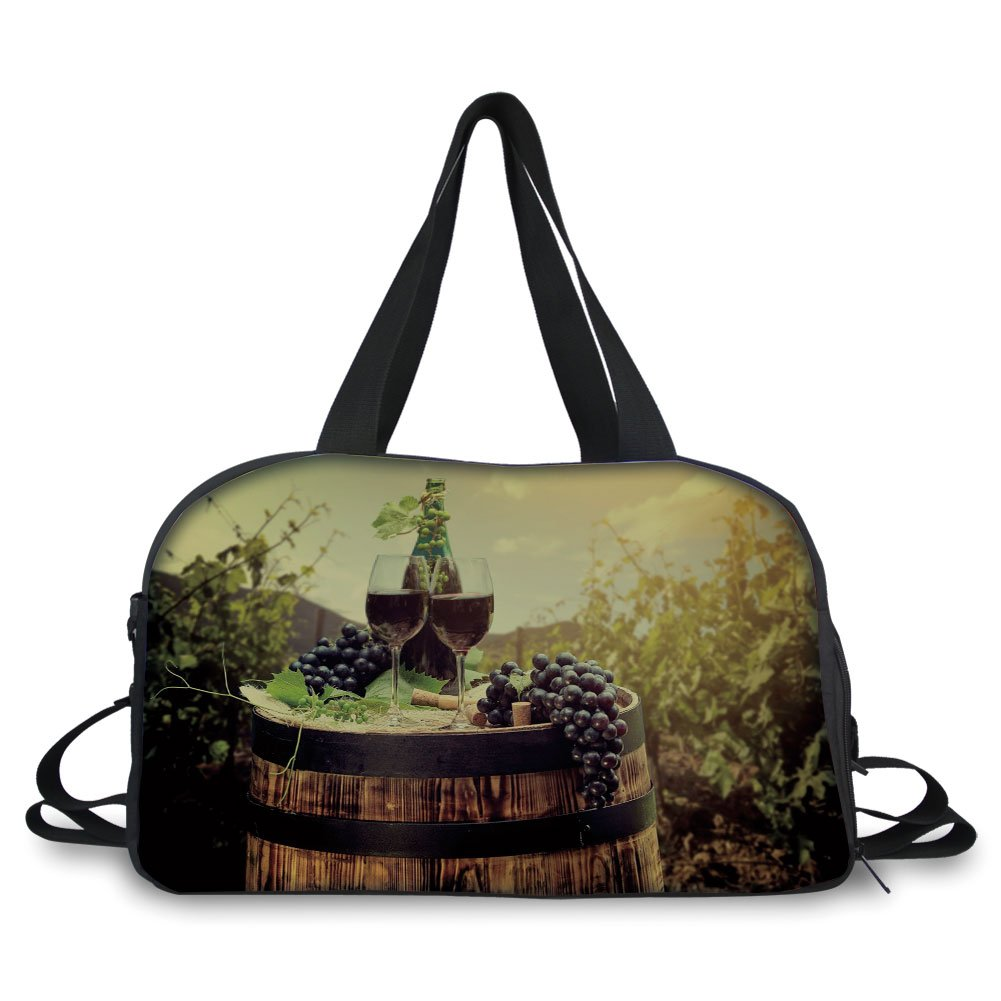iPrint Travel handbag,Wine,Scenic Tuscany Landscape with Barrel Couple of Glasses and Ripe Grapes Growth Decorative,Green Black Brown ,Personalized