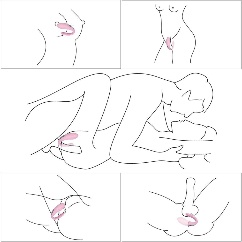 Paarvibrator Partner Vibratoren für Frauen und Paare,Silikon Paarvibratoren für Sie Klitoris und G-punkt Stimulation,Sexspielzeug - Wiederaufladbar,Leise,Hellrosa