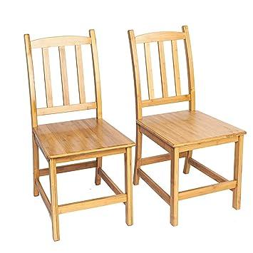 Amazon.com: Guxing - Juego de 2 sillas de comedor de bambú ...