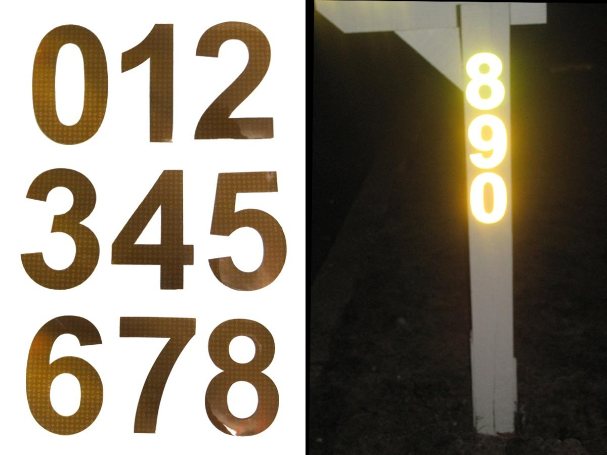 Amazon.com: Bright Ideas RA1 Reflective Address Numbers - up to 4 numbers:  Sports & Outdoors