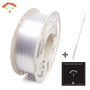Reprapper Clear PETG Filament for 3D Printer 1.75 mm (± 0.03 mm) 2.2 lb (1 kg) Perfectly Coiled in Recycled Spool + Cleaning Needle + Printing Surface