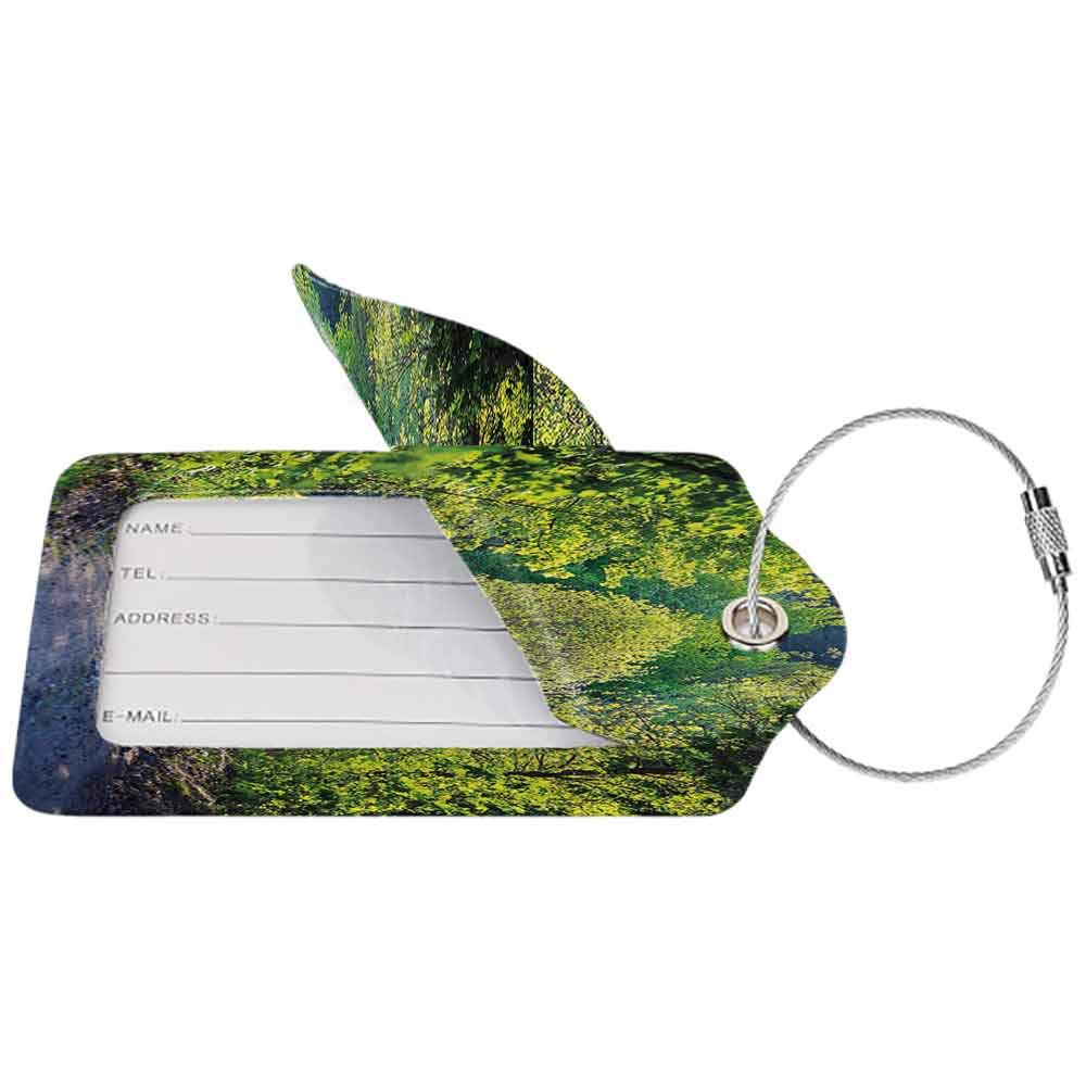 Personalized luggage tag Spring Path in Forest by the Lake Sun Light Reflecting on Fresh Leaves Tranquil Image Easy to carry Lime Green Grey W2.7 x L4.6