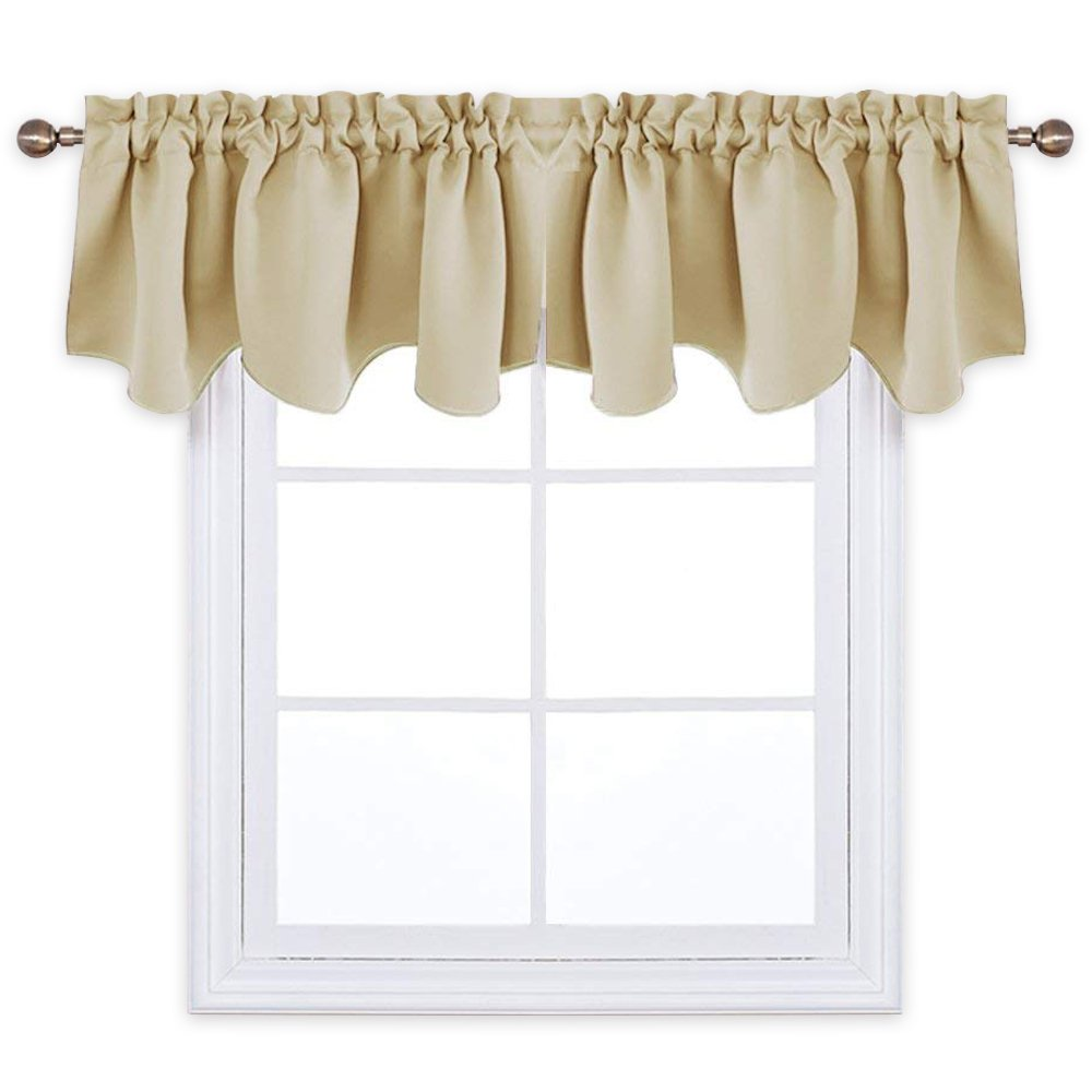 PONY DANCE Half Window Blackout Curtain Tiers Home Decor Window Treatment Scalloped Valances Room Darkening Rod Pocket Panels Bedroom, 52'' W x 18'' L, Beige, Set of 2