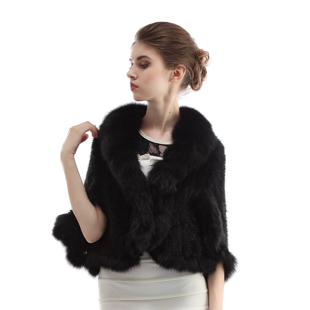 Hhdress Women's Real Mink Fur Wedding Wraps and Shawls Bridal Fur Stole by Hhdress