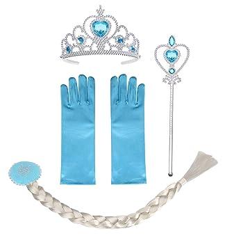 Vicloon 8pcs Princesa Accesorios Conjunto Trenza//Corona//Sceptre//Anillo//Pendientes//Guantes3-10 A/ños