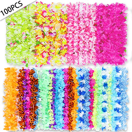 PARTYMASTER Hawaiian Leis Bulk Party Favors,100 Pack Multi Colorful Tropical Floral Necklace Leis for Luau Party and -