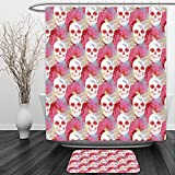 Vipsung Shower Curtain And Ground MatCoral Decor Double Exposured Graphic Mexican Skull Bones and Exotic Creepy Dead Icon with Plants MultiShower Curtain Set with Bath Mats Rugs
