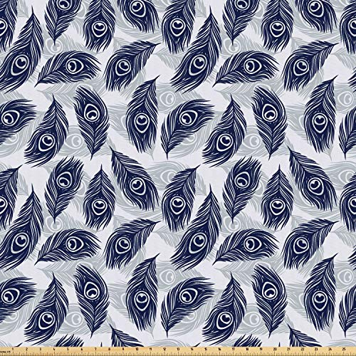 Ambesonne Feather Fabric by The Yard, Peacock Feathers Pattern Divine Symbolic Sacred Energy Pigments Wellness, Microfiber Fabric for Arts and Crafts Textiles & Decor, 10 Yards, Pale Grey - Valance Divine
