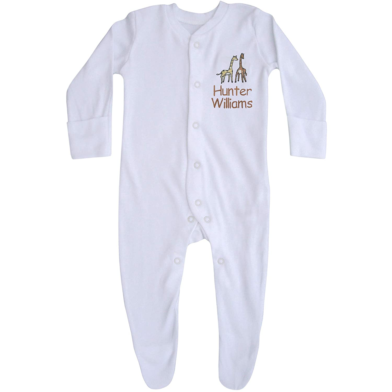 Baby White Personalised Name All in One Giraffe Sleepsuit