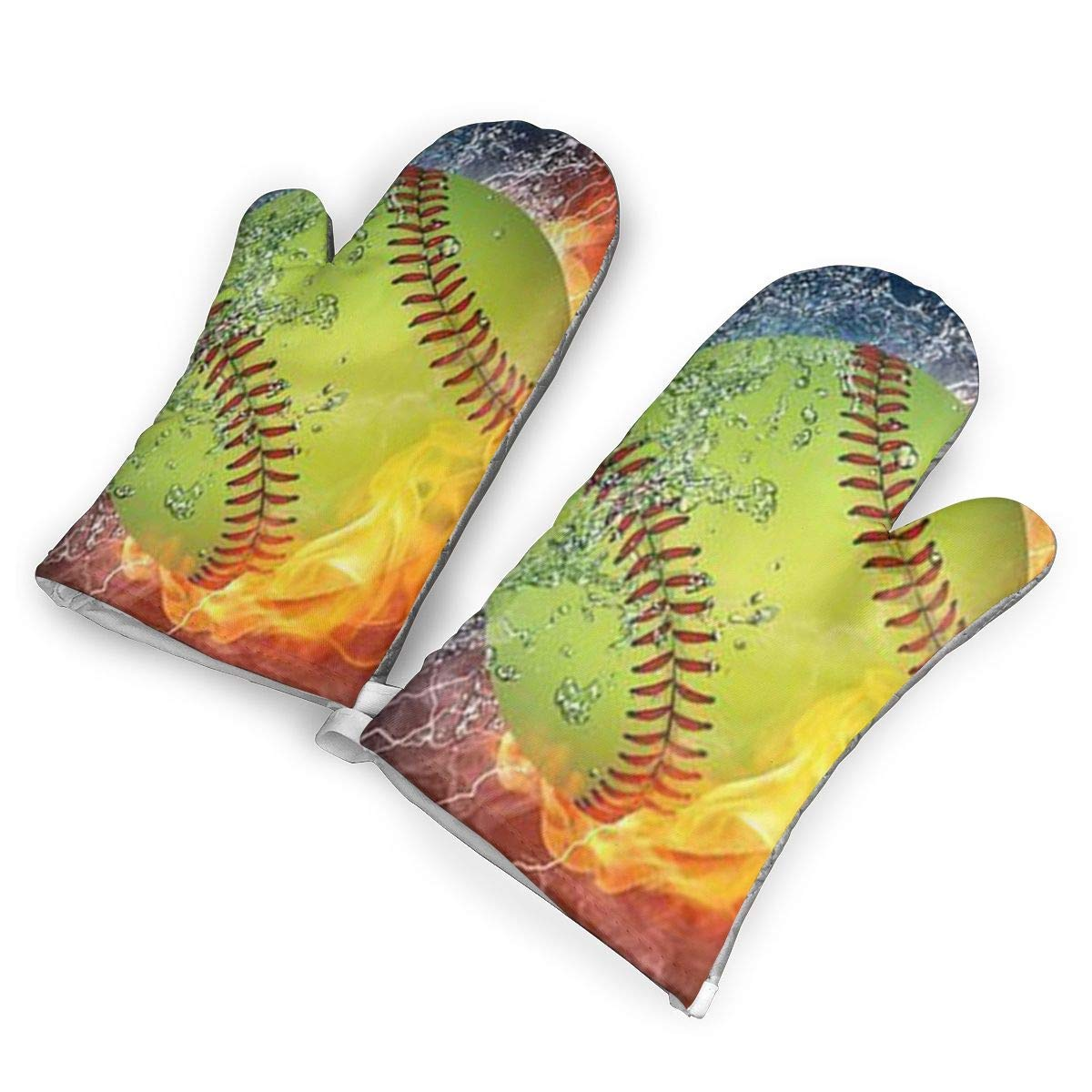 VANKINE Softball World Series Oven Mitts Cooking Gloves 480 F Heat Resistant, Non Slip Grip Pot Holders for Kitchen Oven BBQ Grill and Fire Pits for Cooking Baking