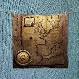 L-QN quick dry towel compass on vintage map france spain england portugal holland denmark Lightweight, High Absorbency W19.7 x W19.7