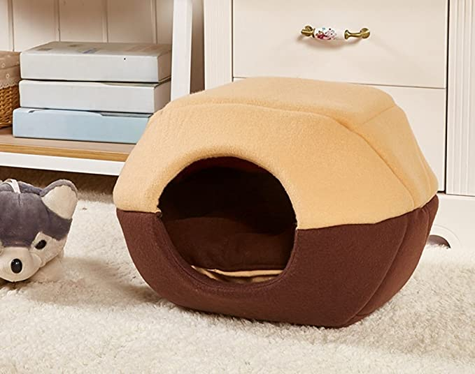 Amazon.com : L-Peach Pet House Cute Dome Shape Pet Bed Cave Non-slip Windproof Bottom Dog Cat Soft and Comfy Beds for Kitten Puppy Rabbit M: 17.7