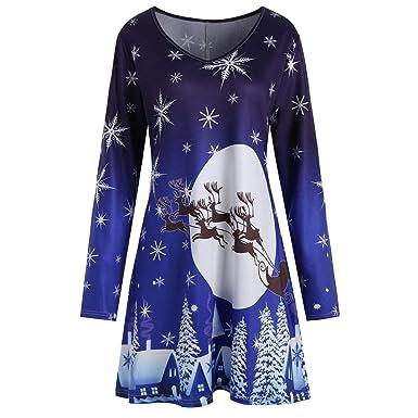 14e39d9e6 Womens Xmas Christmas Santa Skater Dress Ladies Snowman Long Sleeves ...