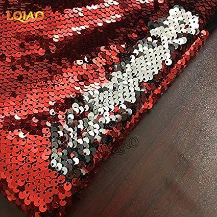 Lentejuelas tela rojo que cambia de color Plata Doble Colores Reversible tela de lentejuelas lentejuelas de