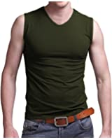 Pishon Men's Sleeveless Tee Shirts Casual V-neck/Crew Neck Fitted Muscle T-Shirt