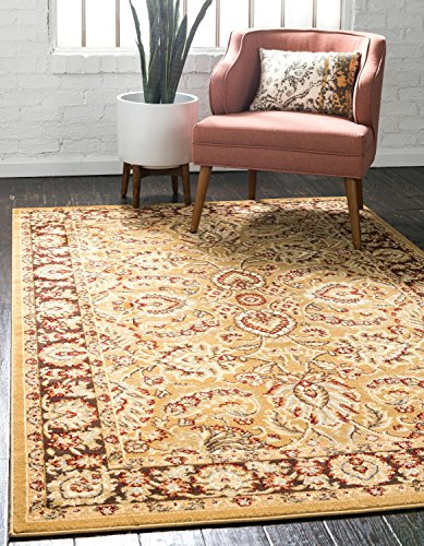 Unique Loom Voyage Collection Traditional Oriental Classic Tan Area Rug (7' x 10') - Beige Mahal Rectangle Rug