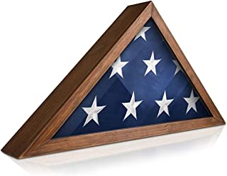 product image for Solid Wood Military Flag Display Case for 9.5 x 5 American Veteran Burial Flag (Rustic Brown)