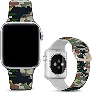 DOO UC Floral Bands Compatible with iWatch 38mm/42mm/40mm/44mm, Camouflage Khaki Silicone Fadeless Pattern Printed Replacement Bands for iWatch Series 4/3/2/1, M/L for Women/Men