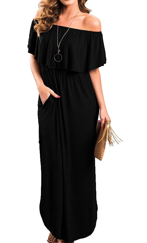I2CRAZY Women Off The Shoulder Ruffle Pockets Side Split Beach Maxi Dresses(Size-S,Black)
