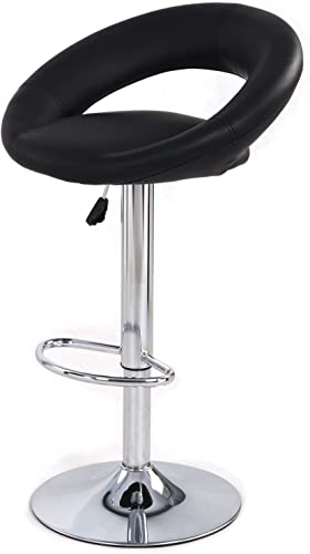 jersey seating PU Leather Hydraulic Lift Adjustable Counter Bar Stool Dining Chair Black 153