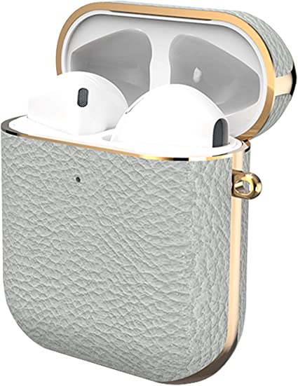 Front LED Visible Black /& White Falandi Black White Genuine Leather Plated Rose Gold Protective Cover Case for Apple AirPods 1 /& 2 , Airpods Leather Case Cover with Keychain