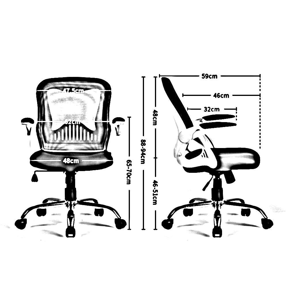 ZZHZY Swivel kontorsstol, datorstol hem svängbar kontorsstol litet utrymme dedikerad nätstol personallyftstol uppgift stol (färg: Röd) Svart