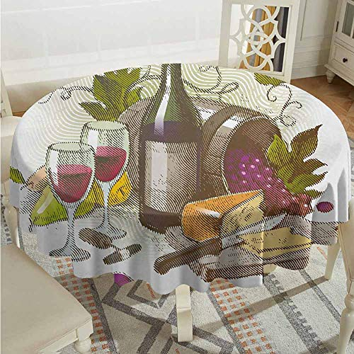 XXANS Round Tablecloth,Wine,Vintage Style Composition with Wine and Cheese Fruits Gourmet Taste Beverage and Food,Table Cover for Home Restaurant,43 INCH,Multicolor from XXANS