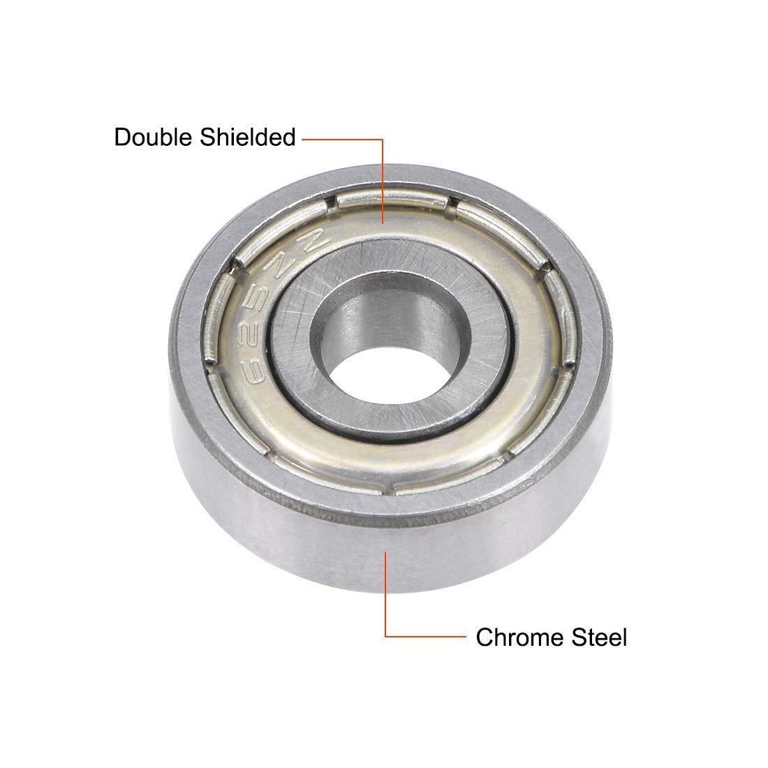 625ZZ Deep Groove Ball Bearings Double-Shielded Chrome Steel Bearings 5x16x5 mm Package of 5