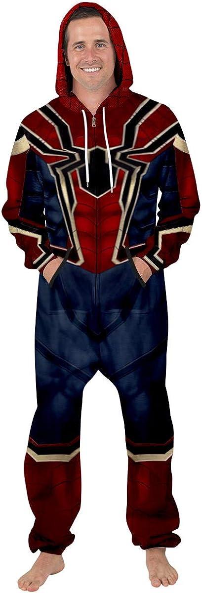 Leezeshaw Kapuzen-Onesie mit langem Arm Kost/üm Spider Man-Pyjama Superhelden-Einteiler Nachtw/äsche 3D Overall unisex