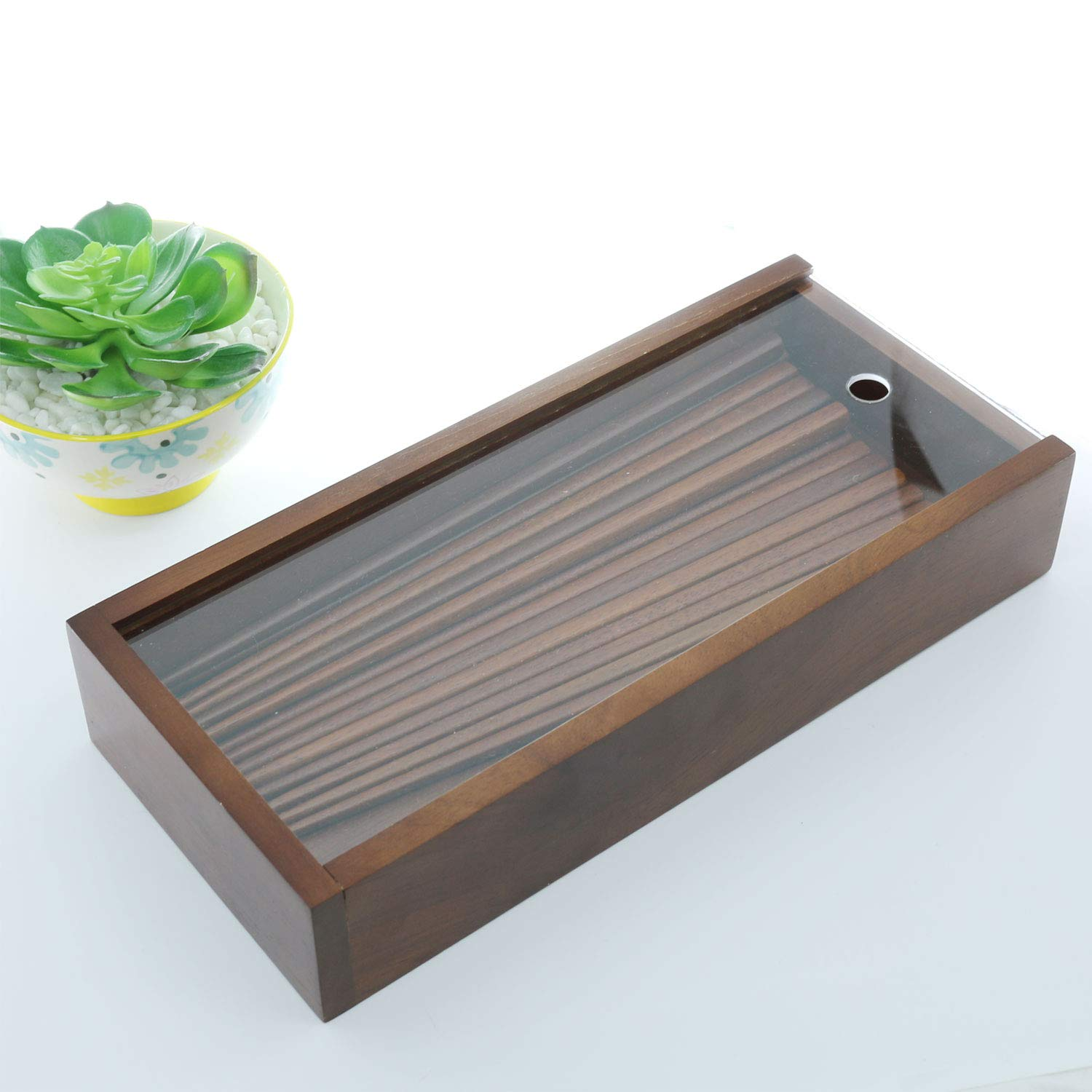 The Elixir Eco Green Wood Cutlery Organizer Spoon Chopstick Flatware Holder Case, Kitchen Organizer Sleek Cutlery Holder with Clear Sliding Lid, Korean Spoon Chopstick Case, Ottchil Finished