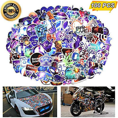 Laptop Stickers, Computer Stickers for Laptop Water Bottles Skateboard Car Bumper Guitar Bike Luggage Waterproof Vinyl Decals Cool Graffiti Stickers Pack (100 Pcs Galaxy Stickers)