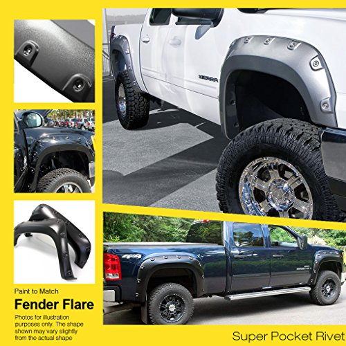 "Pocket-Riveted Style ABS Black Fender Flares | 4pcs | For 2009-2015 Dodge Ram 1500 Fleetside 67.4""/76.3""/96.3"" Bed (Excl. R/T Models)"