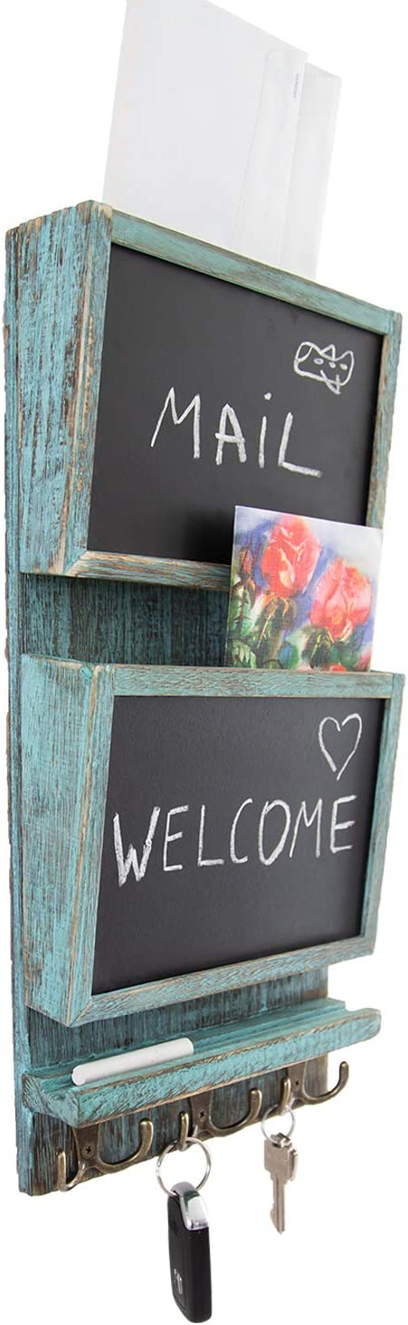 Rustic 2-Slot Mail Sorter Organizer for Wall with Chalkboard Surface & 3 Double Key Hooks - Wooden Wall Mount Mail Holder Organizer – Wall Décor for Entryway Made of Paulownia Wood - Rustic Blue