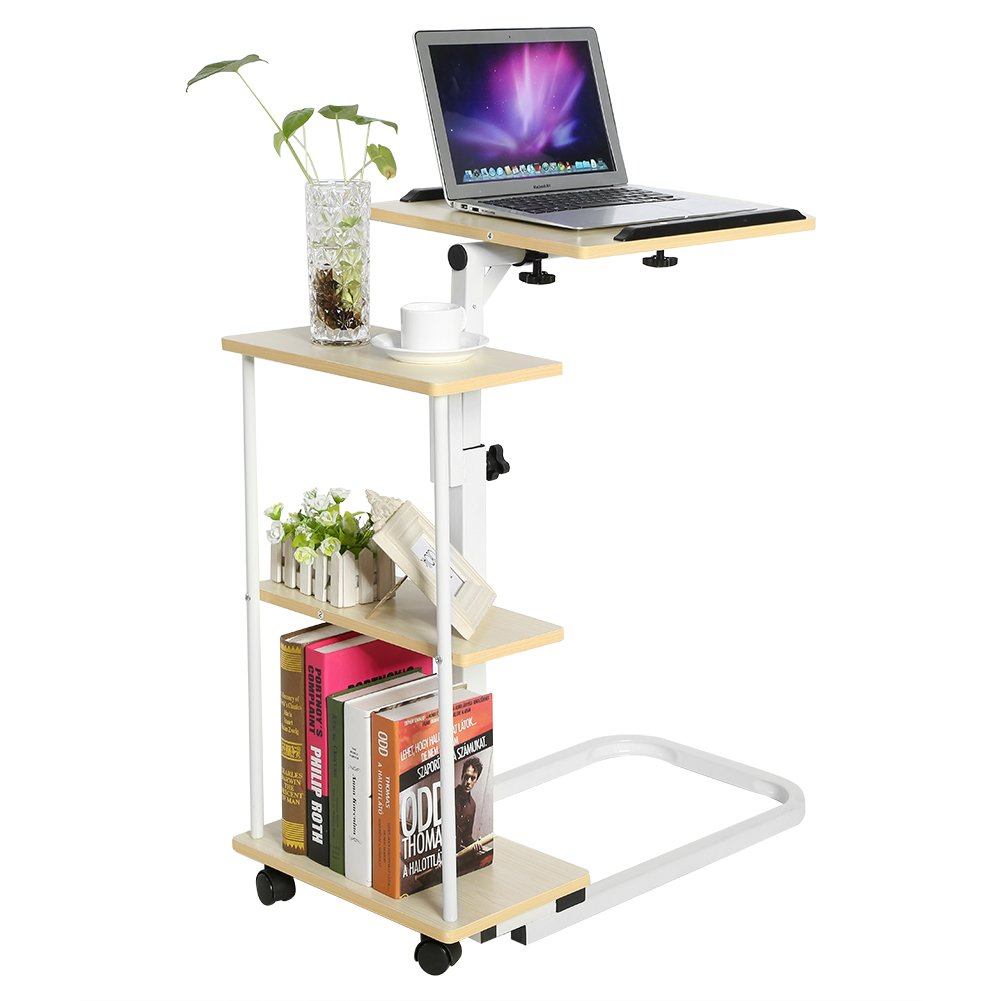 Overbed Computer Table, Multi-Function Height Adjustable Overbed Table Sofa Side Table Mobile Laptop Cart Computer Desk with Wheels