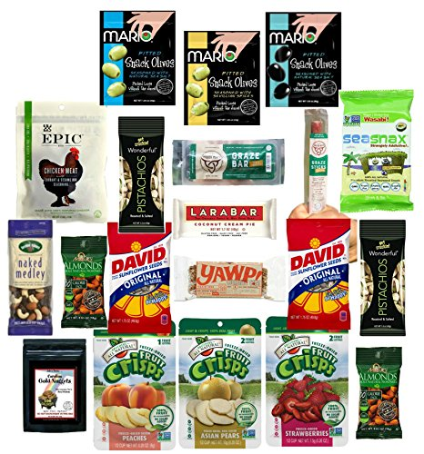 Healthy Snacks for Kids, Paleo Snacks and Treats, Individually Wrapped Items, Perfect Care Package for College Kids, (20 Count) ()