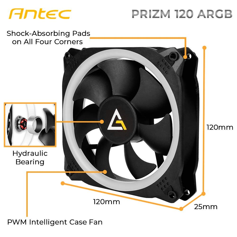 Antec Prizm 120mm Addressable RGB Case Fan Radiator - 3 Pack and 2 RGB Strips by Antec (Image #3)