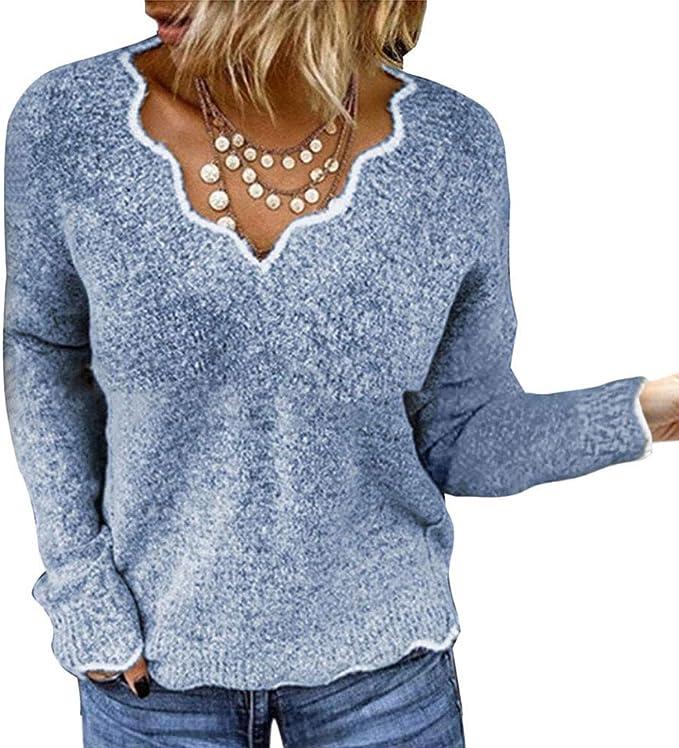 Damen Pullover Pulli Strickpullover Langarm Sweatshirt Freizeit Warm Sweater Top