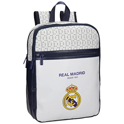 Real Madrid White RM Mochila Tipo Casual, 36 cm, 11.66 litros, Blanco: Amazon.es: Zapatos y complementos
