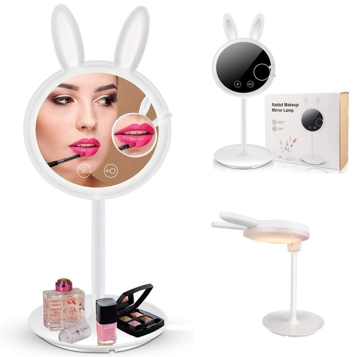 Double-Sided Lighted Makeup Mirror - Rabbit Vanity Mirror 6.7-inch Led Round Tabletop Cosmetic Mirror,7X Magnification,Touch Screen and USB Cable,16.5-inch Height